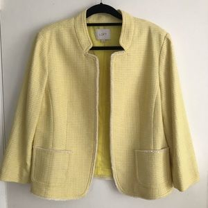 Anne Taylor Loft Yellow Tweed Jacket Size XL